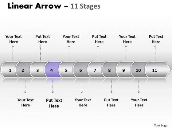 Strategy PowerPoint Template Linear Arrow 11 Stages Communication Skills Design