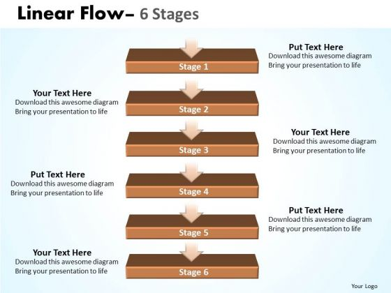 Strategy PowerPoint Template Linear Flow 6 Stages1 Business Plan Ppt Graphic