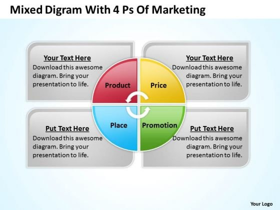Strategy PowerPoint Template Mixed Digram With 4 Ps Of Marketing Ppt Templates