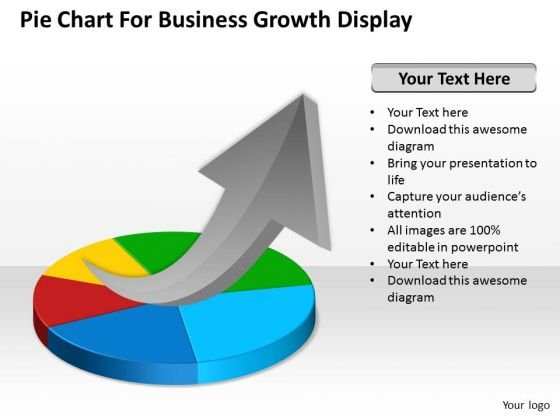 Strategy PowerPoint Template Pie Chart For Business Growth Display Ppt Slides