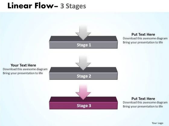 Strategy Ppt Background Linear Flow 3 Stages Business Communication PowerPoint 4 Graphic