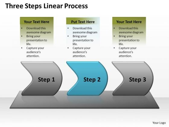 Strategy Ppt Background Three Steps Linear Writing Process Representation Video 3 Image