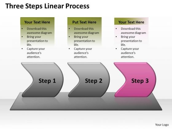 Strategy Ppt Background Three Steps Linear Writing Process Representation Video 4 Image