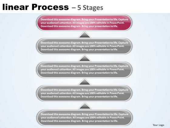 Strategy Ppt Template Linear Process 5 Stages Communication Skills PowerPoint 6 Image