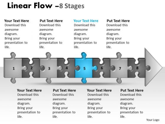Strategy Ppt Theme Linear Flow 8 Stages Style1 Business PowerPoint 6 Image