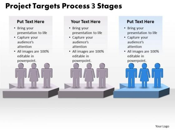 Strategy Ppt Theme Project Targets Process 3 Stages Management PowerPoint 4 Design