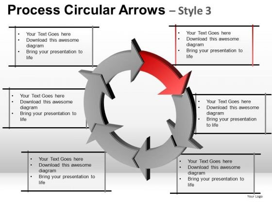 Strategy Process Circular Arrows Editable PowerPoint Slides