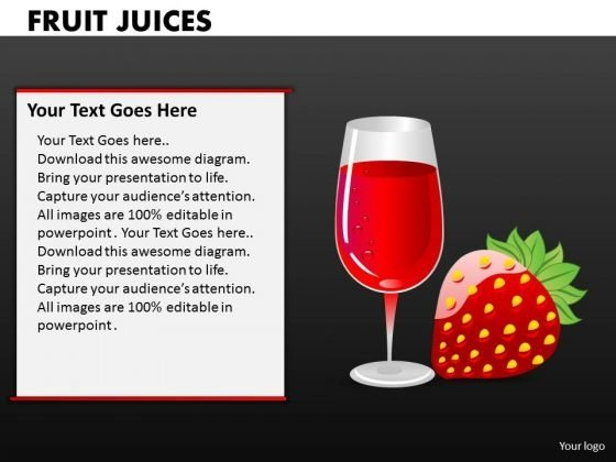 Strawberry Juice PowerPoint Templates And Strawberries PowerPoint Slides
