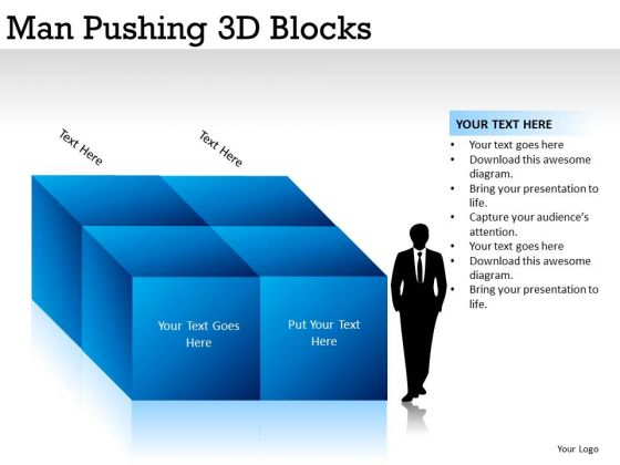 Strength Man Pushing 3d Blocks PowerPoint Slides And Ppt Diagram Templates