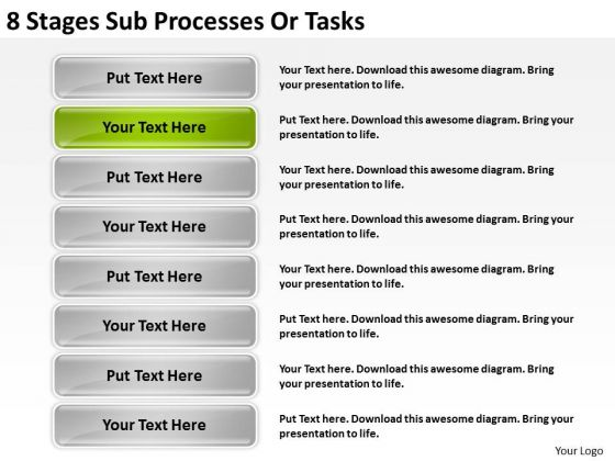 Sub Processes Or Tasks Creating Business Plan For Small PowerPoint Slides