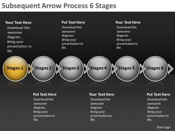 Subsequent Arrow Process 6 Stages Free Flow Chart Slides PowerPoint