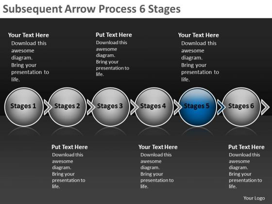 Subsequent Arrow Process 6 Stages Ppt Business Flow Chart PowerPoint Slides
