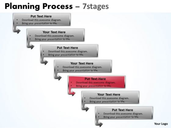 Success PowerPoint Template Downward Process Of 7 Stages Time Management Image