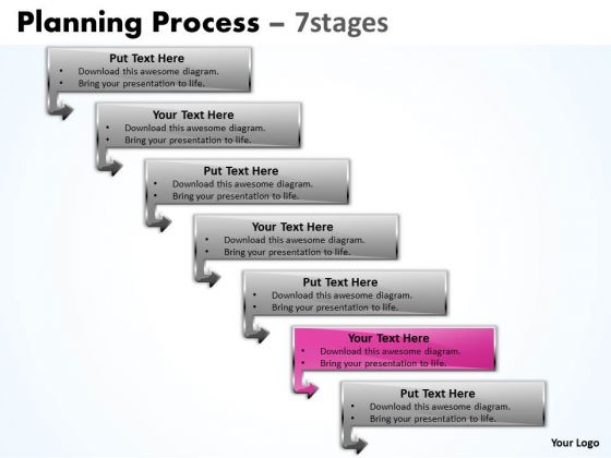 Success PowerPoint Template Downward Process Of 7 Stages Time Management Ppt Image