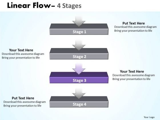 Success Ppt Template Linear Flow 4 Stages Business Communication PowerPoint Image
