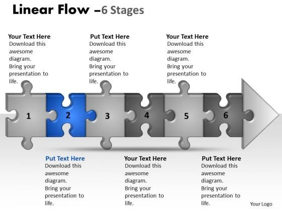 Success Ppt Template Linear Flow 6 Stages Style1 Project Management PowerPoint 3 Graphic
