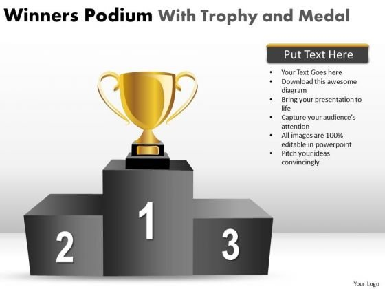 Success Trophy Winners Podium PowerPoint Slides And Ppt Diagram Templates