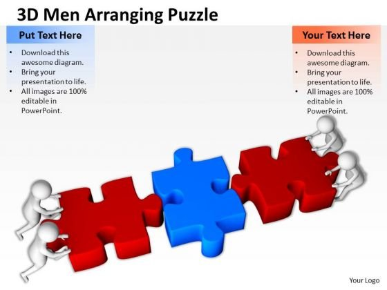Successful Business Men 3d Arranging Puzzle PowerPoint Templates Ppt Backgrounds For Slides