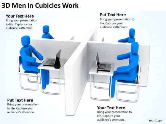 Successful Business Men 3d Cubicles Work PowerPoint Slides
