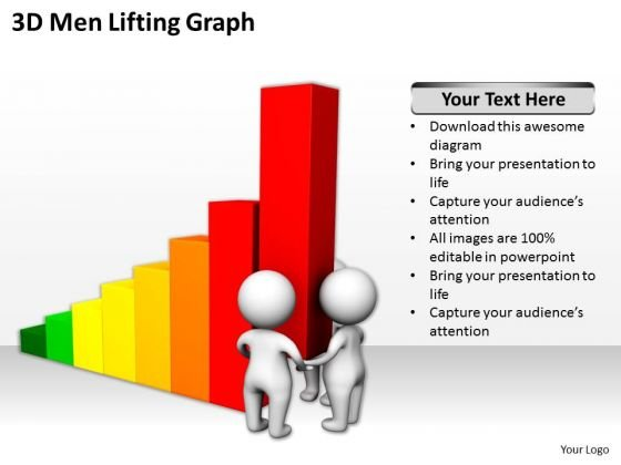 Successful Business Men 3d Lifting Graph PowerPoint Slides