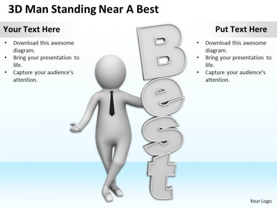 Successful Business Men 3d Man Standing Near Best PowerPoint Templates Ppt Backgrounds For Slides