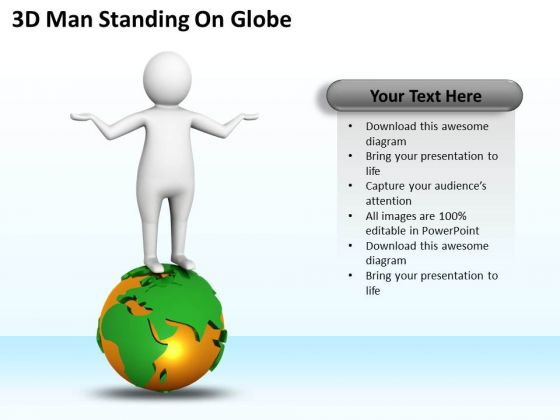 Successful Business Men 3d Man Standing On Globe PowerPoint Templates Ppt Backgrounds For Slides