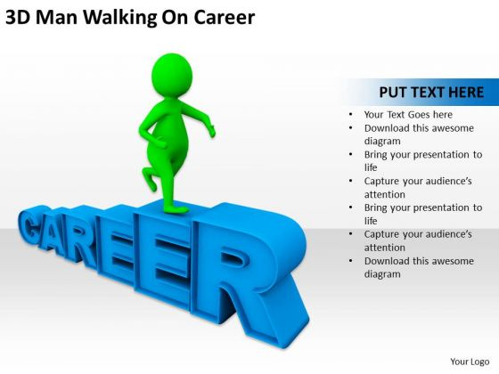 Successful Business Men 3d Man Walking On Career PowerPoint Templates
