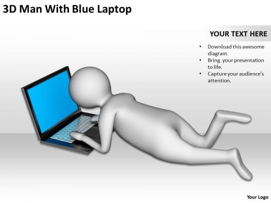 Successful Business Men 3d Man With Blue Laptop PowerPoint Slides