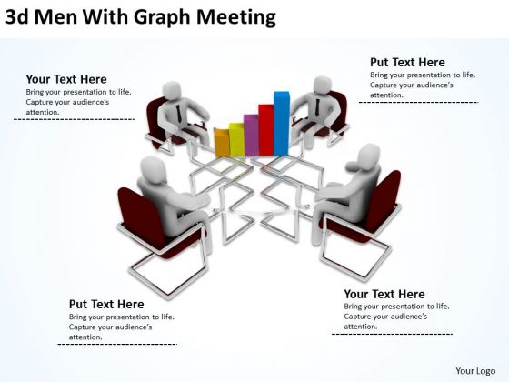 Successful Business Men 3d With Graph Meeting PowerPoint Slides