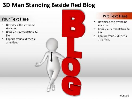 Successful Business Men Standing Beside Red Blog PowerPoint Templates Ppt Backgrounds For Slides