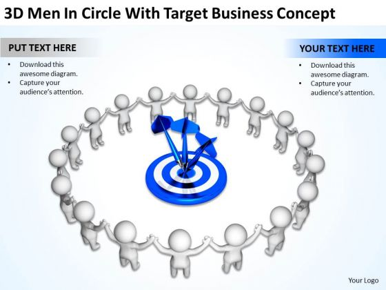 Successful Business Men With Target New PowerPoint Presentation Concept Slides