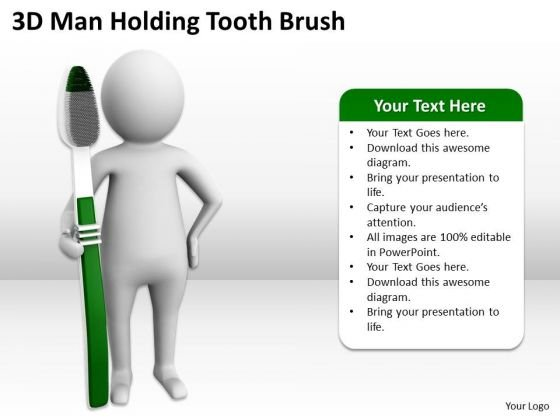 Successful Business People 3d Man Holding Tooth Brush PowerPoint Slides