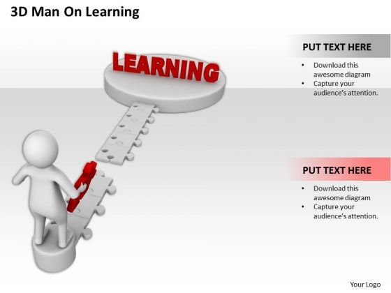 Successful Business People 3d Man On Learning PowerPoint Templates