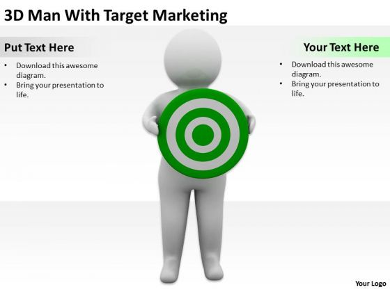 Successful Business People 3d Man With Target Marketing PowerPoint Slides