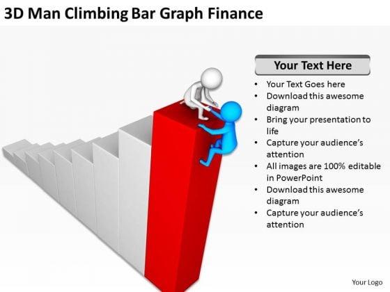 Successful Business People 3d Men Climbing Bar Graph Finance PowerPoint Templates