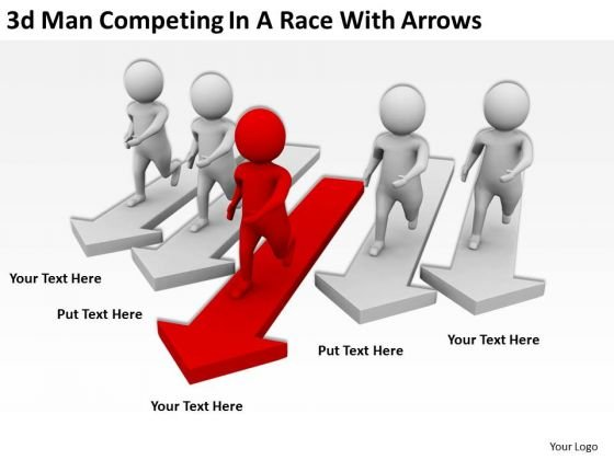 Successful Business People 3d Men Competing A Race With Arrows PowerPoint Templates