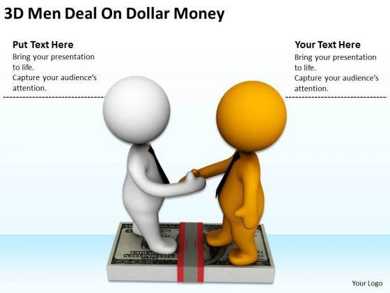 Successful Business People 3d Men Deal On Dollar Money PowerPoint Templates