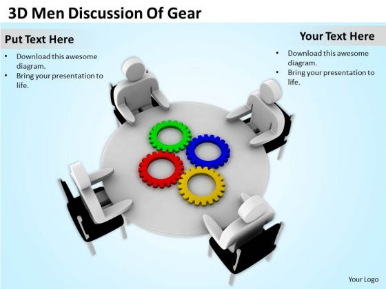Successful Business People 3d Men Discussion Of Gear PowerPoint Slides
