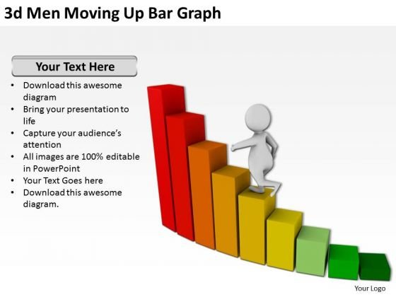 Successful Business People 3d Men Moving Up Bar Graph PowerPoint Templates
