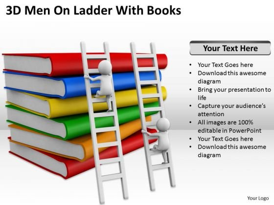 Successful Business People 3d Men On Ladder With Books PowerPoint Templates