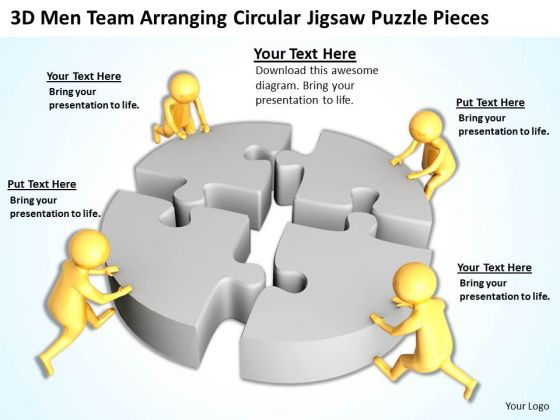 Successful Business People 3d Men Team Arranging Circular Jigsaw Puzzle Pieces PowerPoint Templates