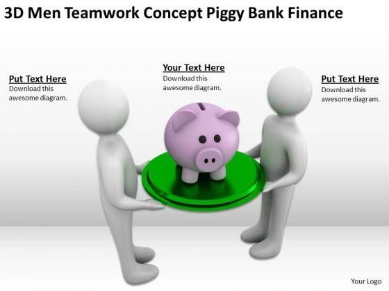 Successful Business People 3d Men Teamwork Concept Piggy Bank Finance PowerPoint Templates