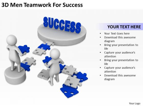 Successful Business People 3d Men Teamwork For PowerPoint Templates