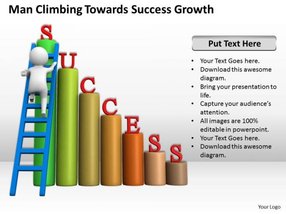 Successful Business People Man Climbing Towards Growth PowerPoint Templates