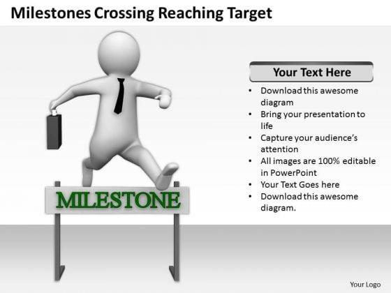 Successful Business People Milestones Crossing Reaching Target PowerPoint Templates