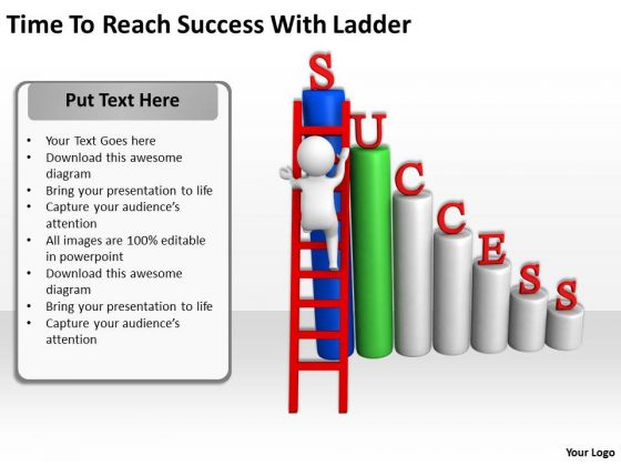 Successful Business People Time To Reach With Ladder PowerPoint Templates