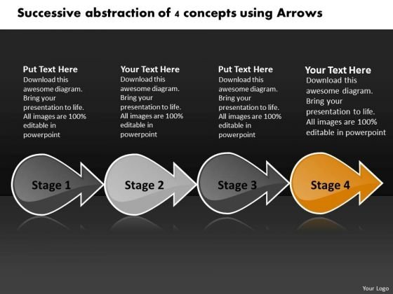 Successive Abstraction Of 4 Concepts Using Arrows Vision Office PowerPoint Slides