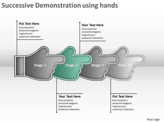 Successive Demonstration Using Hands Business Flowchart Examples PowerPoint Templates