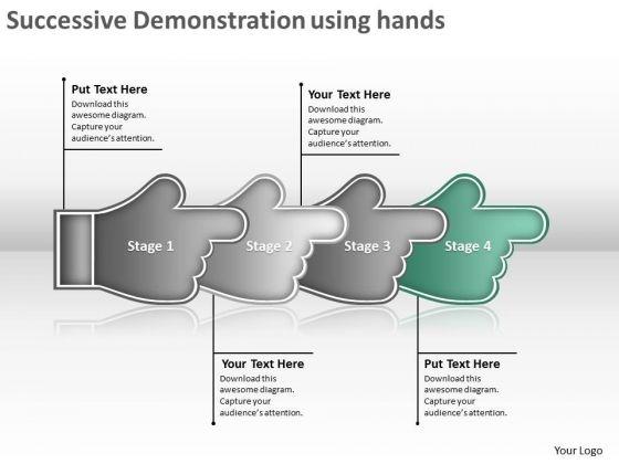 Successive Demonstration Using Hands Flow Chart Creator PowerPoint Templates