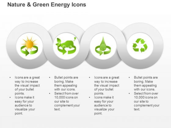 Symbols For Green Energy Production From Sun Water And Waste Ppt Slides Graphics